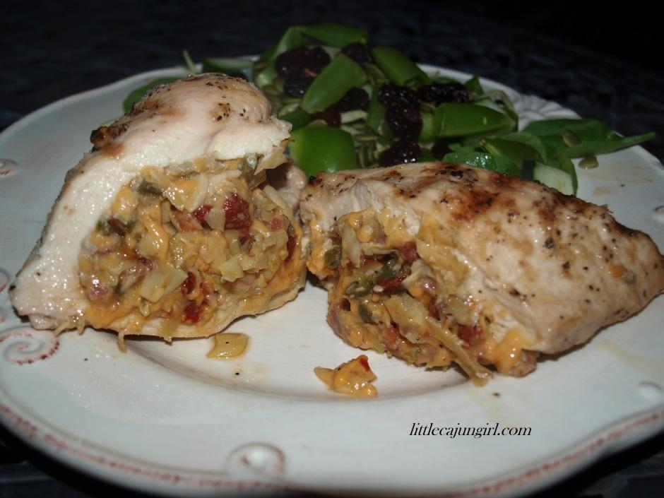 Spicy Tuscan-stuffed Chicken: LittleCajunGirl.com