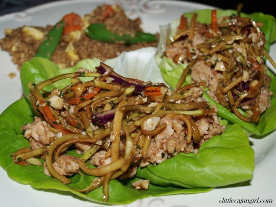 Asian Pork Lettuce Wraps with Broccoli Slaw: LittleCajunGirl.com